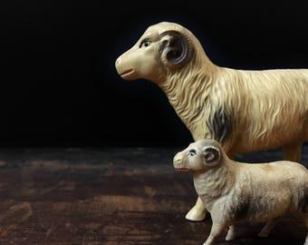 Vintage Celluloid Sheep, Ram Figurines, Plastic Sheep, Farmhouse Decor, Barnyard Animals, Mid Century, Nativity Scene