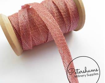 1cm Sinamay Bias Binding Tape Strip (1.6m/1.7yards) for Millinery & Hat Making - Dusky Pink