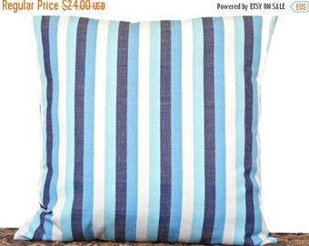Christmas in July Sale Blue Stripe Pillow Cover Cushion Turquoise White Navy Coastal Seaside Repurposed Decorative 18x18