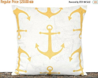 Christmas in July Sale Yellow Anchor Pillow Cover Cushion Nautical Cushion Coastal White Decorative 16x16