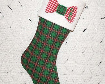 Dapper Bow Tie Mens Stocking for Big and Little Men | Custom Order in Your Choice of Fabrics | Personalized Monogram
