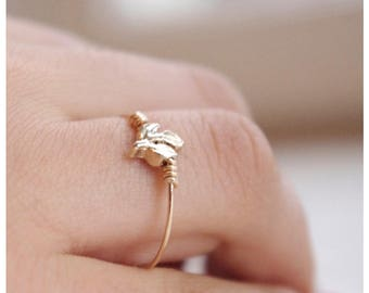Twig Ring, Leaf Ring, Gold Plated Leaf Gold Filled Band Ring, Leaf Jewelry, Gift Under 25, Gifts For Her,Minimalist Ring, Handmade in Sweden