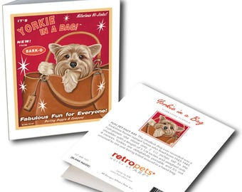 """Yorkie Art """"Yorkie in a Bag"""" 6 Small Greeting Cards by Krista Brooks"""