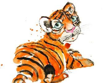 minimalist watercolor print: Baby Tiger