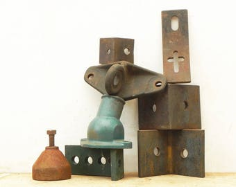 8 salvaged heavy found objects for your assemblage Steampunk project