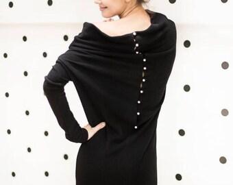 SALE - Loose dress | Black sweater dress | Comfy dress | LeMuse loose dress