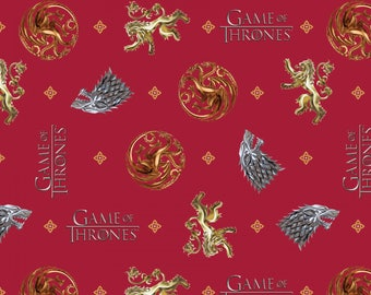 Springs Creative - Hbo Game Of Thrones - You Win Or You Die - Red Fabric by yard or select cut  64272D650715