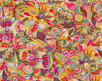 Free Spirit - Floral Waterfall - Botanical Floral - Bright - Fabric by the Yard PWSN001-8BRI
