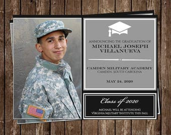 Graduation Announcements, Navy Blue, Gray, Party Invitations, Senior Picture, 10 Printed Invitations, Open House, Graduate, FREE Shipping