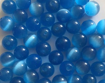 33 x 6mm blue cats eye beads