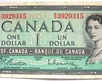 CANADA BANK NOTE Vintage 1954 Queen Elizabeth 2nd One Dollars Bank Note