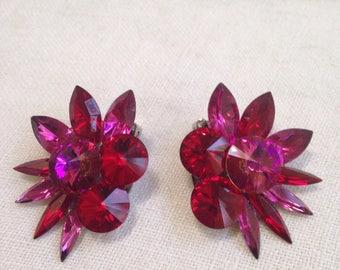 Magenta Red Rhinestone Rivoli Earrings