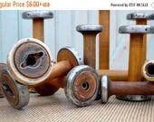 "SUPERBOWL Sale Vintage Bobbins 4"" 5"" & 6"" Small Wooden Textile Mill Spools Cap Spinner Home, Studio Industrial Decor Organize w Wood Bobbin"