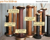 SALE Today Steamer Bobbins Vintage Wooden Textile Mill Spools with Rustic Brass & Steel Ends Display Organize Ribbons Trims with Wood Bobbin