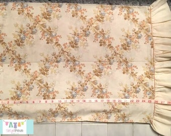 Vintage Blue and Tan Floral Pillowcase with Ruffle