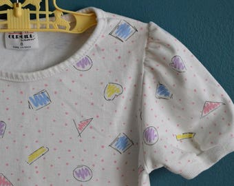 Vintage 1980s 1990s Girl's Pastel Shapes Shirt - Size 8