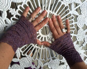 Cuffs - Burning Man - Lace Cuffs - Fingerless Gloves - Gypsy Boho - Clothing Accessory - Tribal - Purple Lace - Sexy Gloves - One Size
