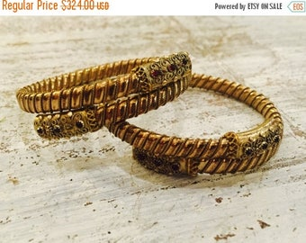 CIJ SALE Christmas JULY Beautiful Victorian Goldfill Granet Vintage Antique Wedding Bracelet Set