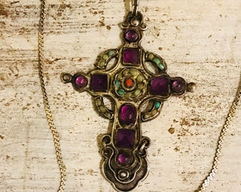 Beautiful Amethyst Coral Turquoise Sterling Silver Vintage Antique Mexican Cross Vintage Necklace