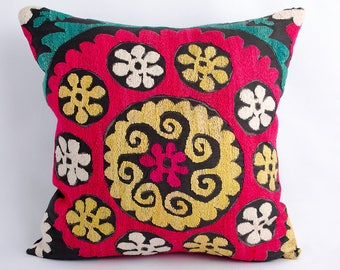 Vintage suzani pillow cover, handmade silk embroidery