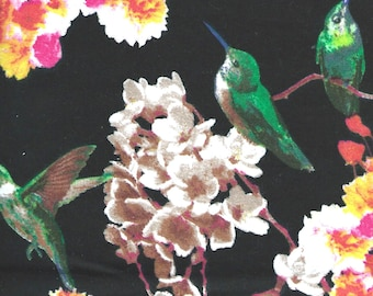"""HUMMINGBIRDS & FLOWERS on Black Background Flannel Fabric, 1 yard x 42"""" inches wide.  Brand new."""