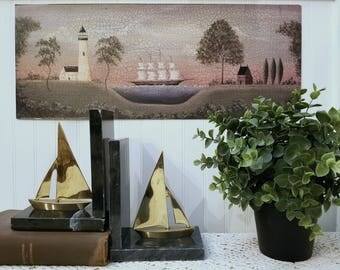 Vintage Brass and Marble Sailboat Bookends. Mid century nautical book ends. Rustic, distressed, & chippy, but built to last.