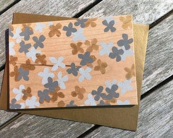 Hand-Painted Wood Greeting Card- gray & gold flowers on solid cherry wood