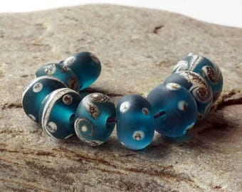 Etched Teal & Silvered Ivory Lampwork Glass Bead Set