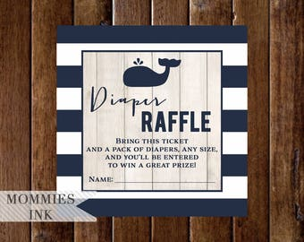 Diaper Raffle Ticket, Navy Blue Whale Baby Shower Raffle Ticket, Navy and White, Navy Whale, Nautical Diaper Raffle, Faux Wood Diaper Raffle