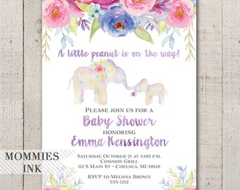 Elephant Baby Shower Invitation, Watercolor Shower Invitation, Floral Shower Invitation, Watercolor Elephant Invitation,Little Peanut Invite