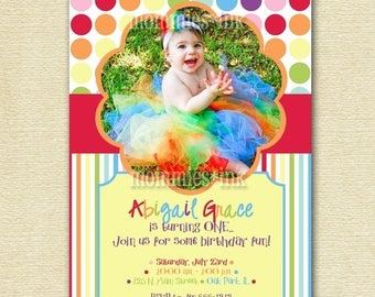 20% OFF SALE Rainbow Birthday Party Invitation, Dots and Stripes Birthday Invitation, Rainbow Photo Invitation, Rainbow Invite, Photo Invita