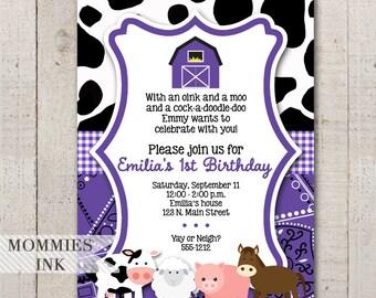 Purple Farm Invitation, Farm Animals Birthday Invitation, Farm Birthday Invitation, Purple Barn, Cow Print Invitation, Purple Invitation