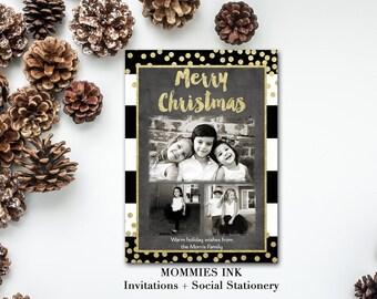 Black and White Stripe Christmas Card, 3 Photo Holiday Card, Photo Christmas Card, Gold Foil Card, Rugby Stripe Card, Gold Confetti Card