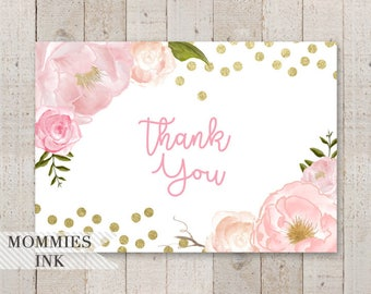 Pink and Gold Watercolor Roses Folded Thank You Note, Watercolor Card, Folded Note, Gold Confetti Thank You Note, Gold and Pink Thank You