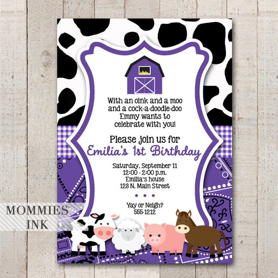Purple Farm Invitation Animals Birthday