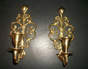 Vintage Gold Metal Candle Wall Sconces