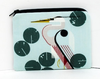 Zipper Pouch, Charley Harper Fabric, Great Heron Sea Bird, Small Zippered Coin Purse
