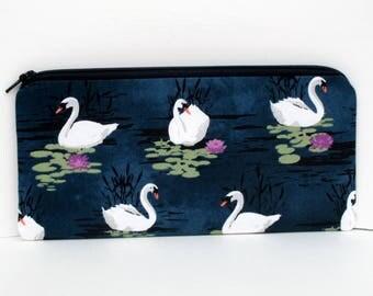 Swan Zippered Pencil Pouch, Swan Lake, Michael Miller Fabric, Deep Blue Zipper Bag