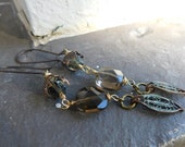 Mina's Earl Grey Tea Room. Rustic filigree Leaf and Faceted smoky quartz Romantic Victorian Earrings