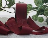 "Burgundy Silk Ribbon, Dark Red Silk, Silk Ribbon, 1.5"" wide"