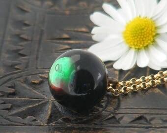 Victorian Drop Pendant | Unique Black & Emerald Glass 'Charm String' Necklace | Antique Glass Charm String Button Pendant - 20 Inch Chain