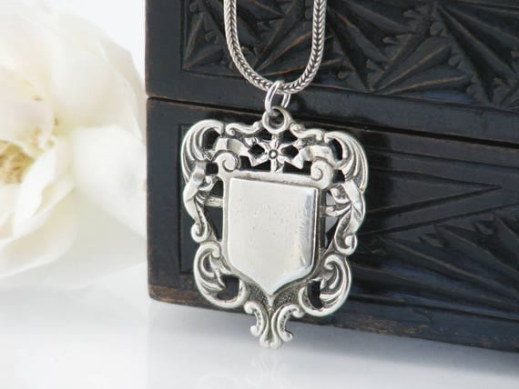 Edwardian 'ALBO' Silver Medal | Ornate Antique Medal, Fob Medallion | Shield Medal | 925 Vintage Choker Chain - 15 or 20 Inch Necklace Chain