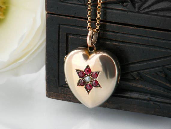Antique Locket | Victorian Gold Heart Locket with Garnets and Seed Pearl | Puffy Heart Photo Locket | Gold Back & Front - 24 Inch Chain