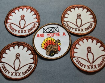 """All 5 VTG Bowling Patch's, Three Strikes and you are a Turkey Embroidered 3 """" across ,80's, Patches Turkey Award XXX"""