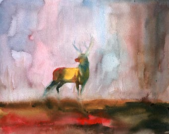 Elk Original watercolor painting 8x10inch