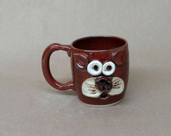 Kitten Coffee Mug. Ug Chug Face Pottery by Nelson Studio in the USA. Rustic Red 14-16 Ounce Microwave and DIshwasher Safe Teacup. Handmade.