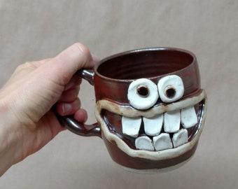 Father's Day Gift. Microwave Dishwasher Safe Big Large Goofy Mug. Ug Chug Mugs in Cinnamon Red. Toothy Grin Breakfast Loving Dude Stein