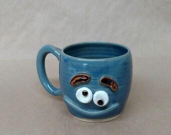 Mischief Maker Mug. Big Blue Smiley Face Coffee Cup for Funny Morning Pick Me Up. Jokester Prankster Coffee Tea Drinker Gift Under 25.
