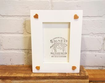 4x6 Picture Frame with 4 Heart Embellishments in SOLID Color Combination of YOUR CHOICE - 4 x 6 Photo Frame - 4x6 Heart Picture Frame