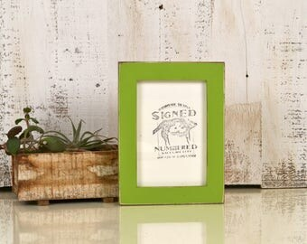 4x6 Picture Frame in 1x1 Flat Style with Vintage Asparagus Green Finish - IN STOCK - Same Day Shipping - 4 x 6 Photo Frame Rustic Colorful